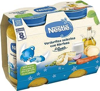 Nestlé Purés Pijama - Tarrito de puré de verduras y carne, variedad Verduritas selectas con Merluza - Para bebés a partir de 8 meses - Paquete de 6x2 ...