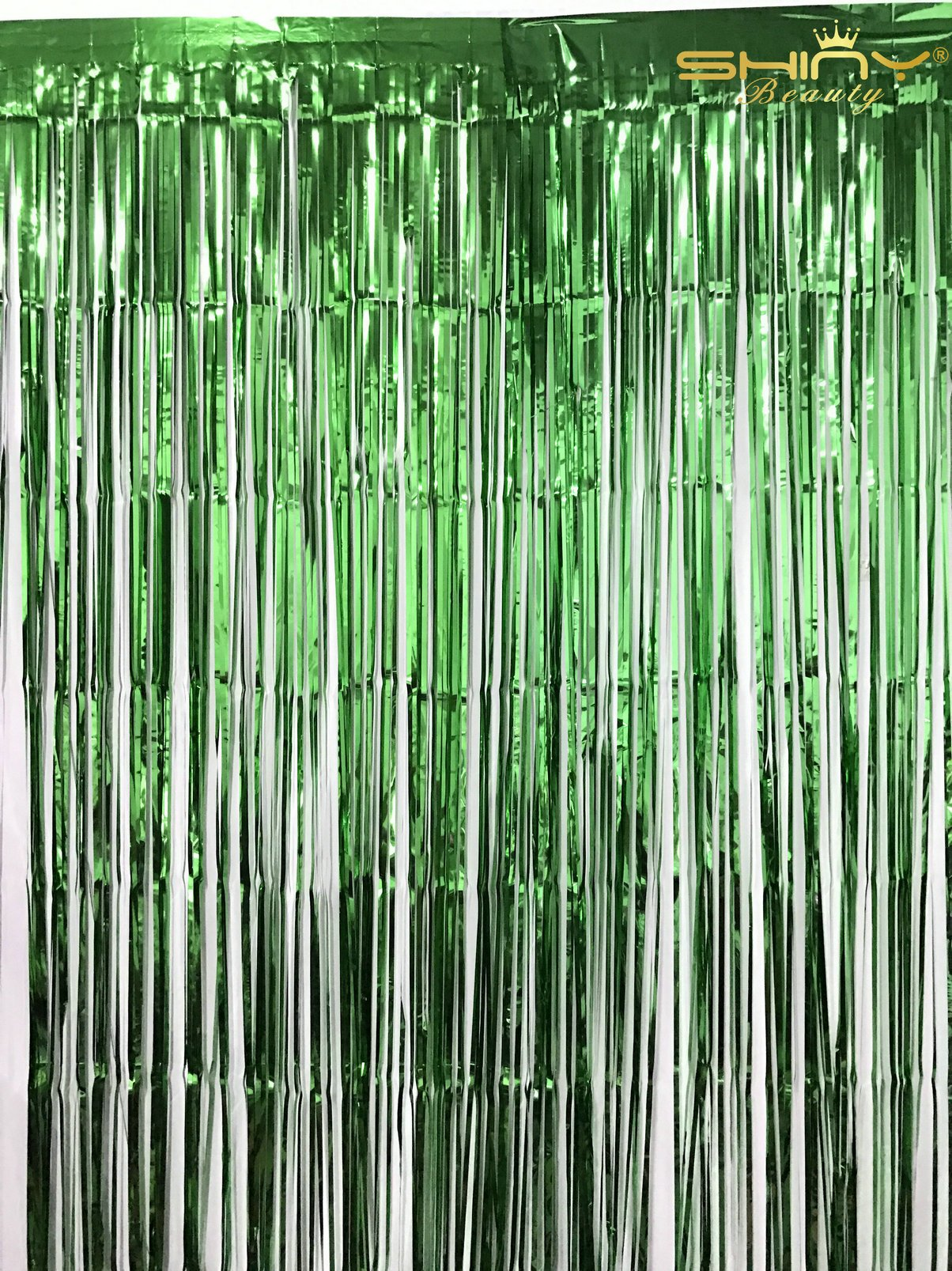 ShinyBeauty 3FTX8FT-Foil Fringe Curtain-Green,Shimmer Photo Backdrops,Wedding/Party Decoration(Pack of 2)