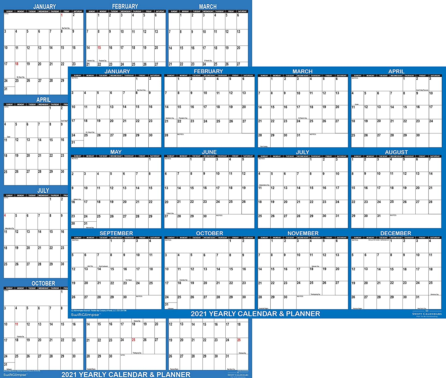 """32"""" x 48"""" SwiftGlimpse 2021 Wall Calendar Erasable Large XL Wet & Dry Erase Laminated 12 Month Annual Yearly Wall Planner, Reversible, Horizontal/Vertical, Navy"""