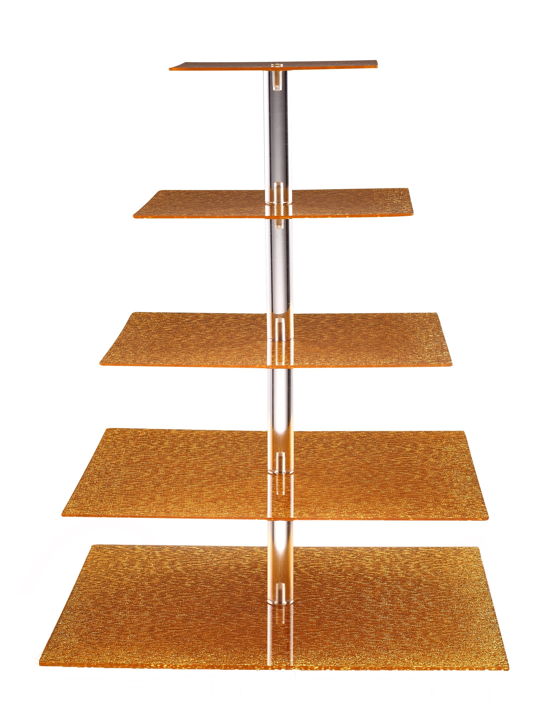 Eglaf Acrylic 5-Tier Gold Cupcake Stand Cakes and Desserts Display Tower/Food Display Platter for Wedding Party (5-Tier-Square-Gold) by Eglaf (Image #1)