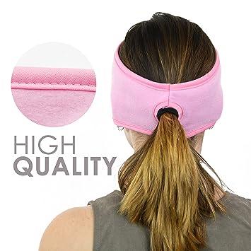b818c9d99045e7 Sportime Damen Stirnband Pferdeschwanz, 2 in1 | 2 Stück in package-black  und Pink | für ...