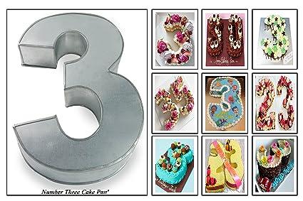 Large Number Three Birthday Wedding Anniversary Cake Tin