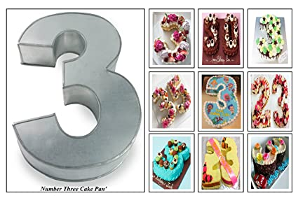 Euro Tins molde para tarta de cumpleaños de número grande TRES 3 (tamaño 35,