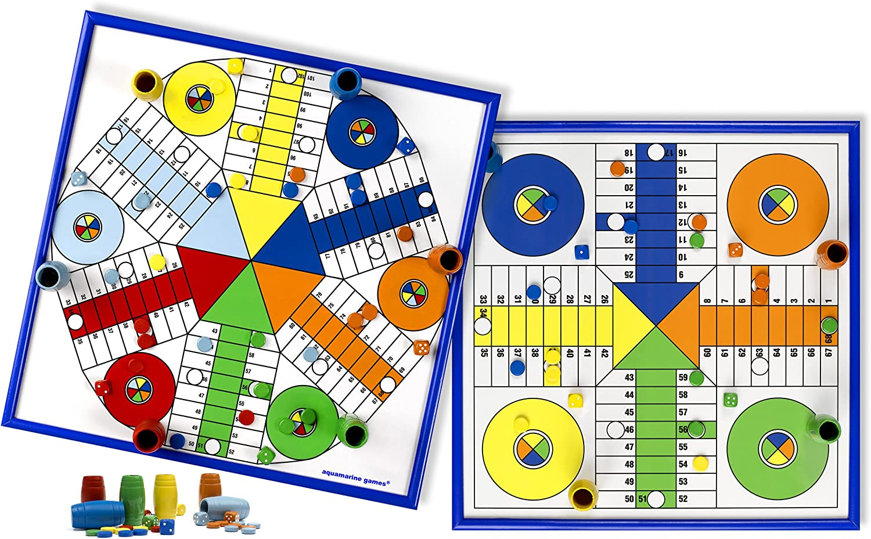 Aquamarine Games - Parchís para 4 y 6 Jugadores, Juego de Mesa ...