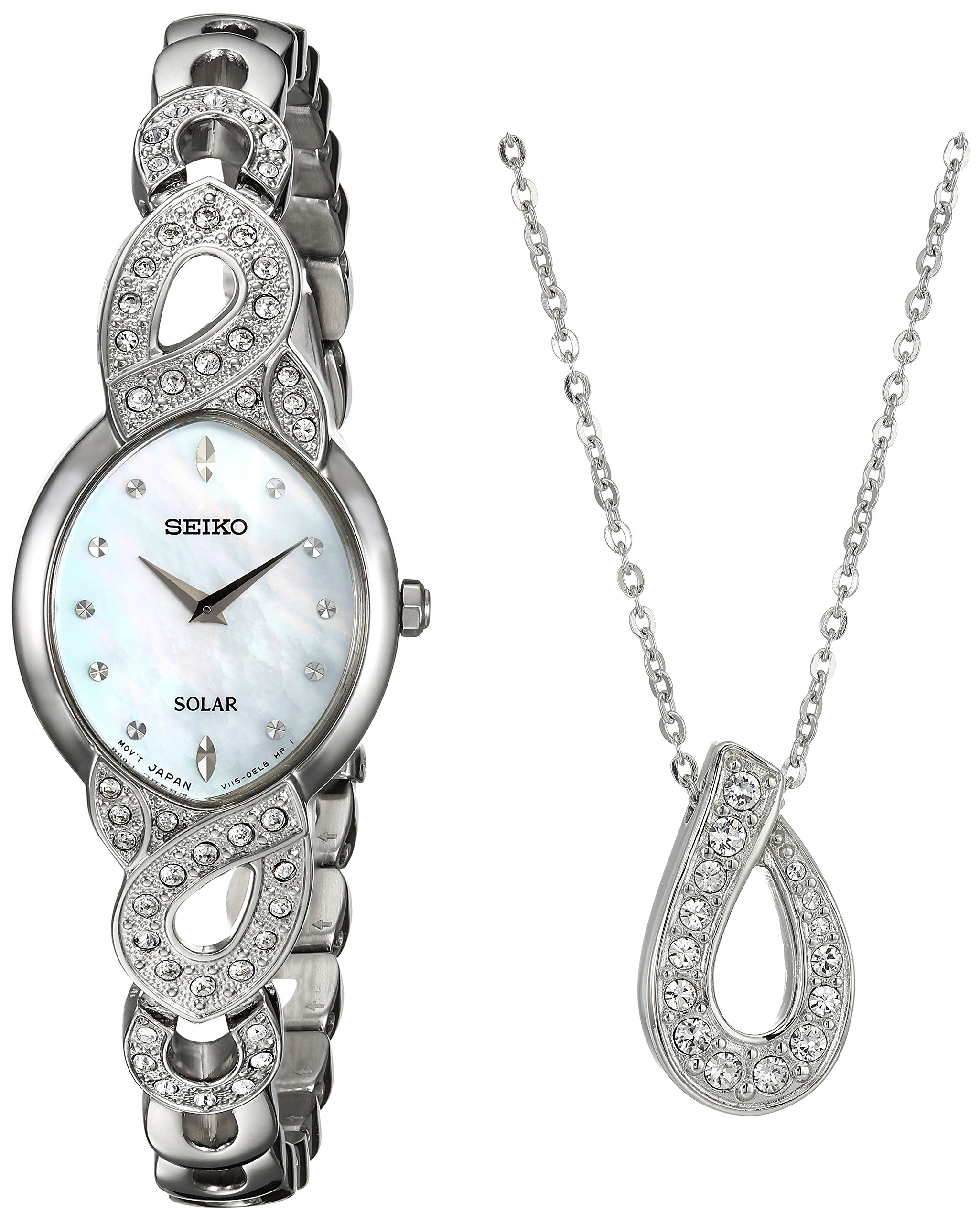 Seiko Women's 'Ladies Crystal Jewelry' Quartz Stainless Steel Casual Watch, Color:Silver-Toned (Model: SUP367)