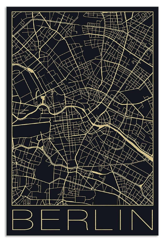 Artland Metallposter Gold I Wandbild Metall - Magnet Halterung 30x45 cm Alu Poster Hochformat Stadtplan Berlin Vintage Bild Schwarz J2IC