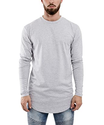 Phoenix Oversized Longline Longsleeve T-Shirt Asch-Grey Mens Sweater Longshirt with Side Zipper