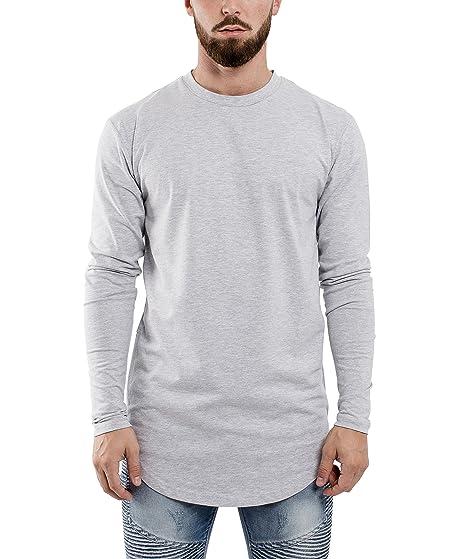 Phoenix Oversize Ronda Camiseta de Manga Larga Palangre Hombre Dobladillo Curvo Suéter Jersey con Cremallera Lateral Verde Negro Blanco Borgoña Gris - S M L ...