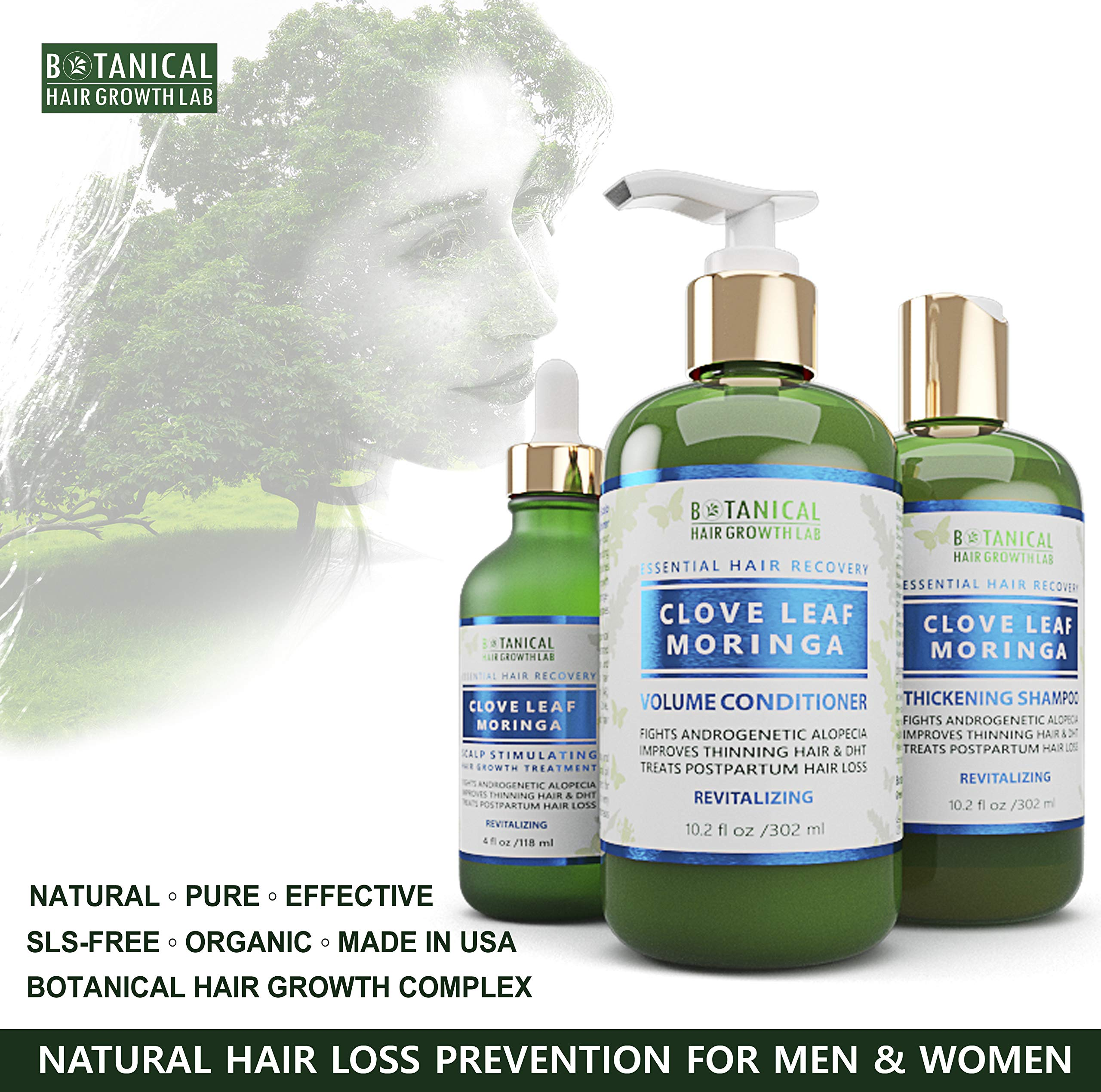 Botanical Hair Growth Lab Biotin Conditioner - Clove Leaf Moringa Formula - Anti Hair Loss Complex - DHT Blockers, Sulfate Free, Natural Ingredients for Men & Women by BOTANICAL HAIR GROWTH LAB (Image #9)