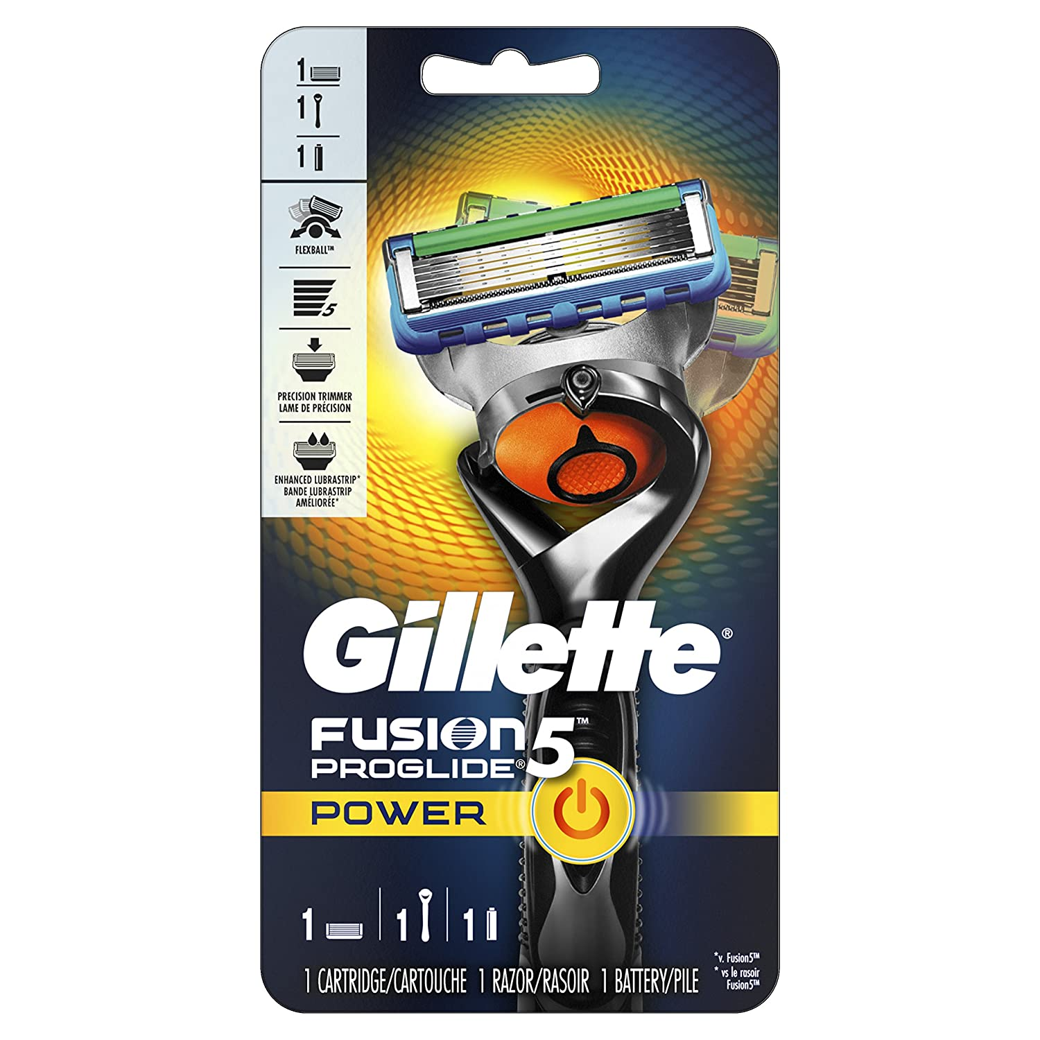 Gillette Fusion5 ProGlide Power Men's Razor with 1 Razor Blade Refill and 1 Battery, Mens Fusion Razors / Blades Procter and Gamble