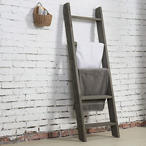 MyGift 4.5 ft Wall Leaning Ladder-Style Vintage Grey Wood Blanket Rack