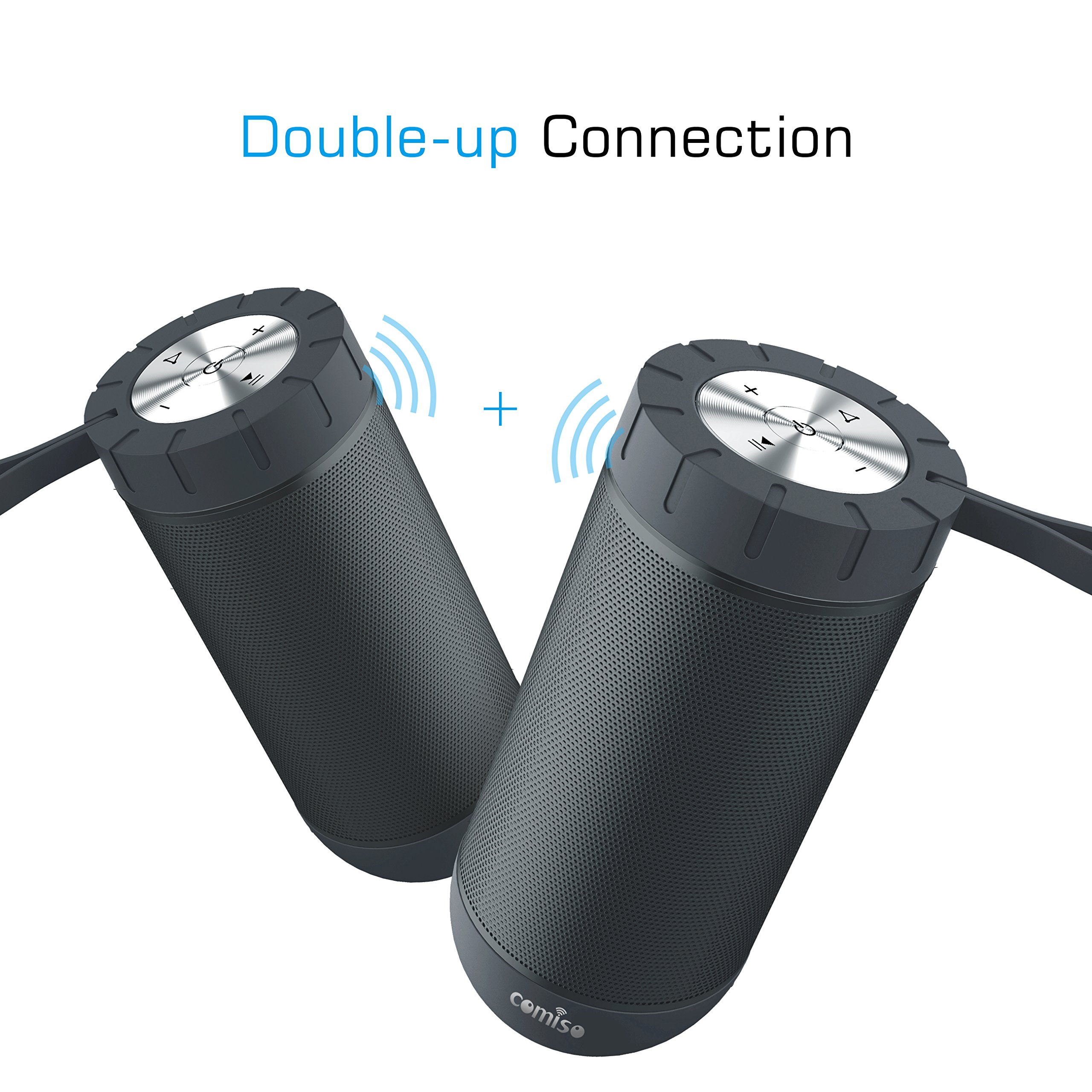 COMISO Waterproof Bluetooth Speakers Outdoor Wireless Portable Speaker with 24 Hours Playtime Superior Sound for Camping, Beach, Sports, Pool Party, Shower (Black) by COMISO (Image #5)