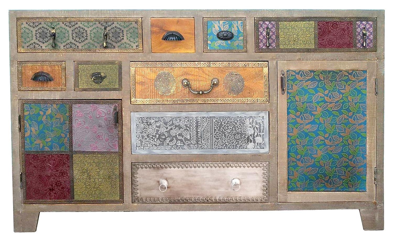 The Wood Times Sideboard Vintage Wohnzimmerschrank Massiv Dhaka Mangoholz, BxHxT 150x90x40 cm