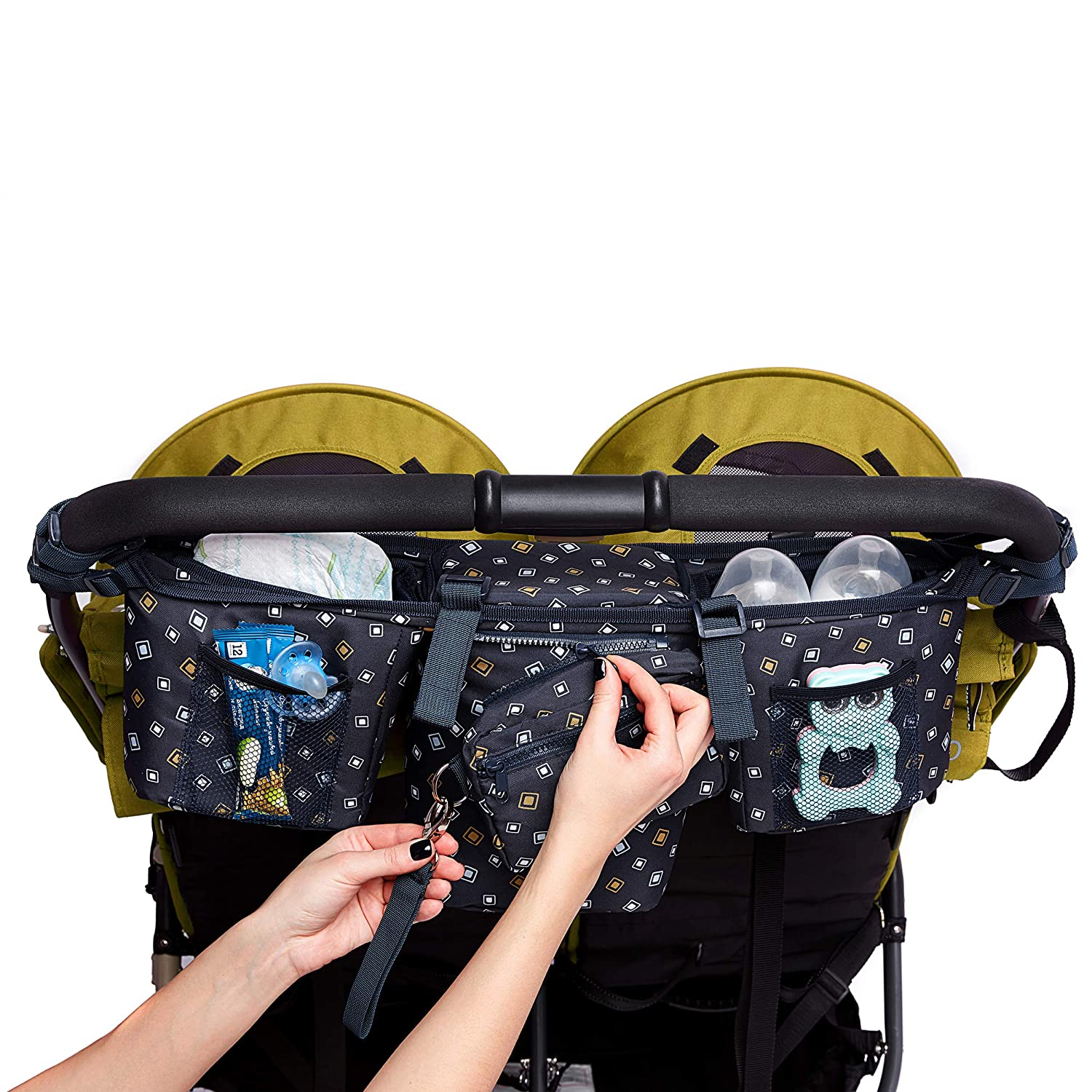 Double Stroller Organizer - Stroller Caddy for Double and Twin Strollers