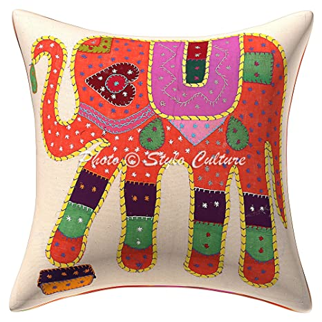 Amazon.com: Indian Patchwork bordado almohada de algodón ...