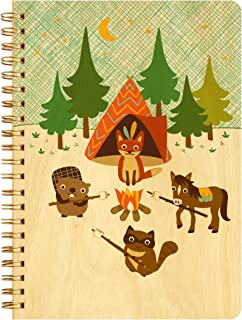 product image for Night Owl Paper Goods Camping Critters Journal with Real Wood Covers