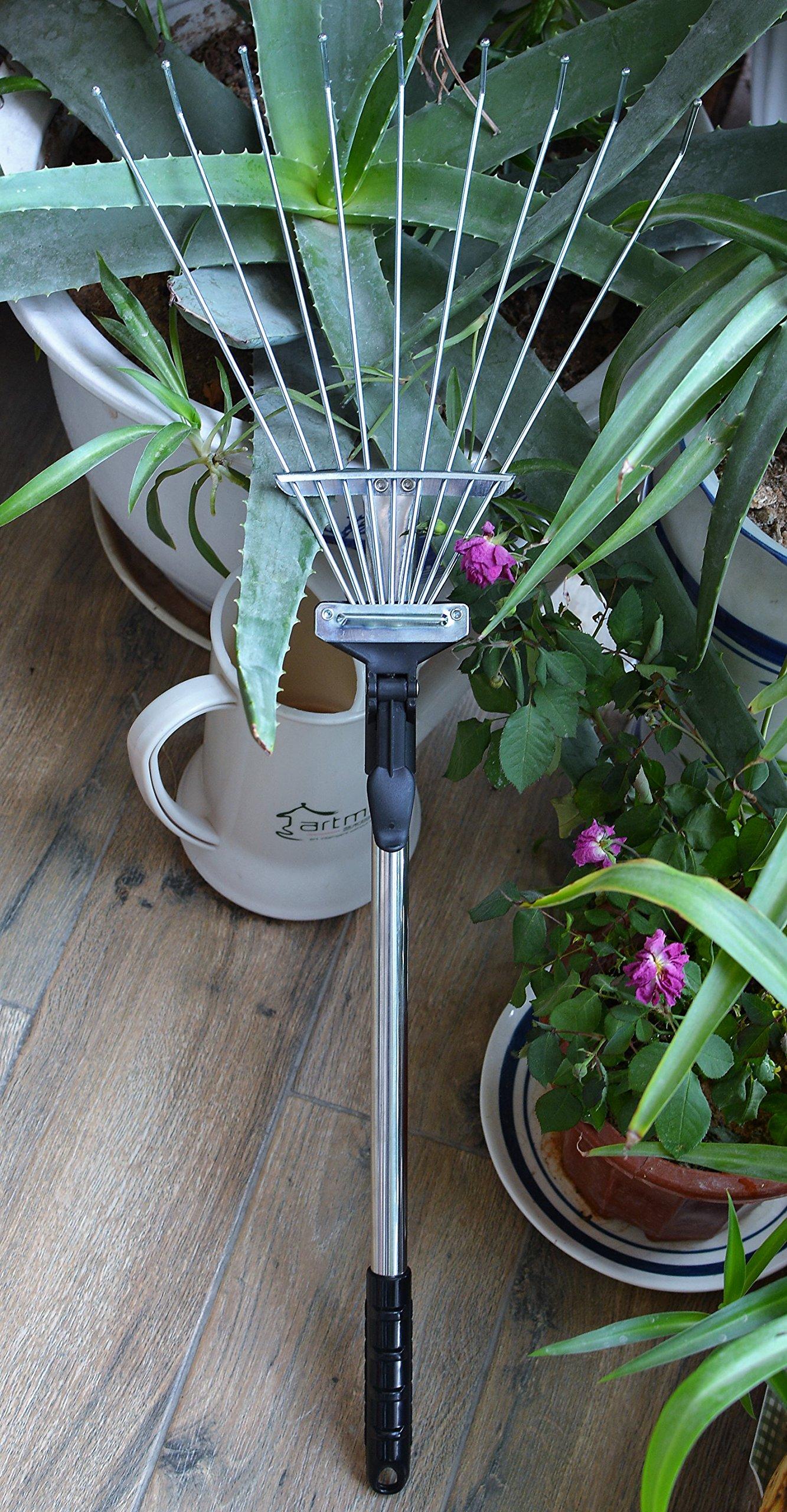 ZaoProteks ZP5802 Stainless Steel Garden Leaf Rakes, Hay Rake, Lawn rake (Black Handle) by ZP ZaoProteks (Image #8)