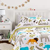 Amazon Basics Easy Care Super Soft Microfiber Kid's Bed-in-a-Bag Bedding Set - Full / Queen, Multi-Color Zoo Animals