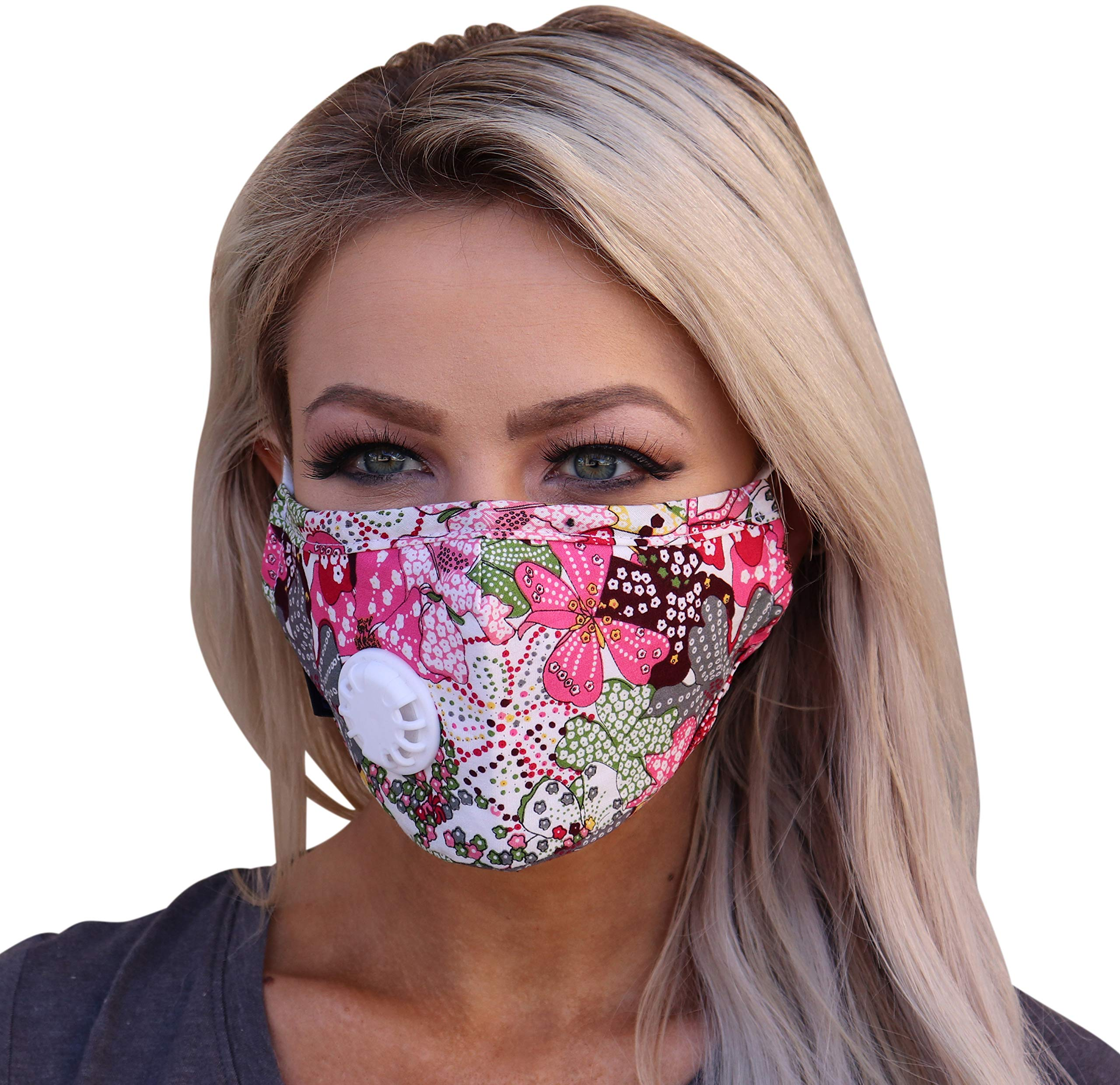 Full Seal Pollution Mask for Men & Women - Reusable Cotton Air Filter Mask With Adjustable Ear Loops Perfect for Blocking Pollution Dust Pollen and Germs (Includes 4 Carbon Filters N99) (Pink-Flower) by Live Right Project