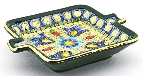 Art Escudellers CENICERO Cuadrado Ceramica Pintado a Mano con Oro de 24K, Decorado al Estilo
