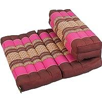 Ceiba Dreams TM Plegable cojín de meditación, 100% de ceiba Zafu/Zabuton, Thai diseño Berry Colores (Borgoña/Rosa)