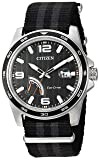 Citizen Men's Eco-Drive Stainless Steel Quartz Nylon Strap, Black, 21 Casual Watch (Model: AW7030-06E)