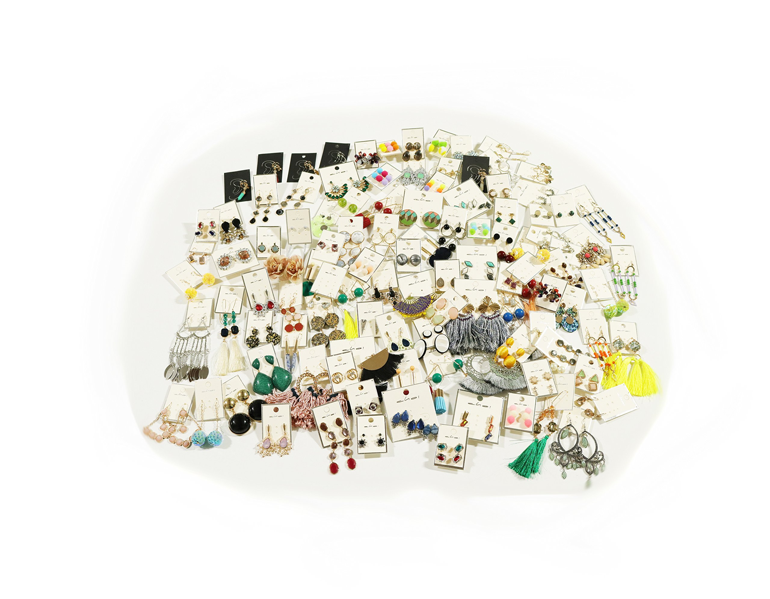 Fashion Jewelry Earrings, 100 Pieces in Bulk for Wholesale, Assorted earrings made of Zinc, Steel, & Brass by Choice by Choi