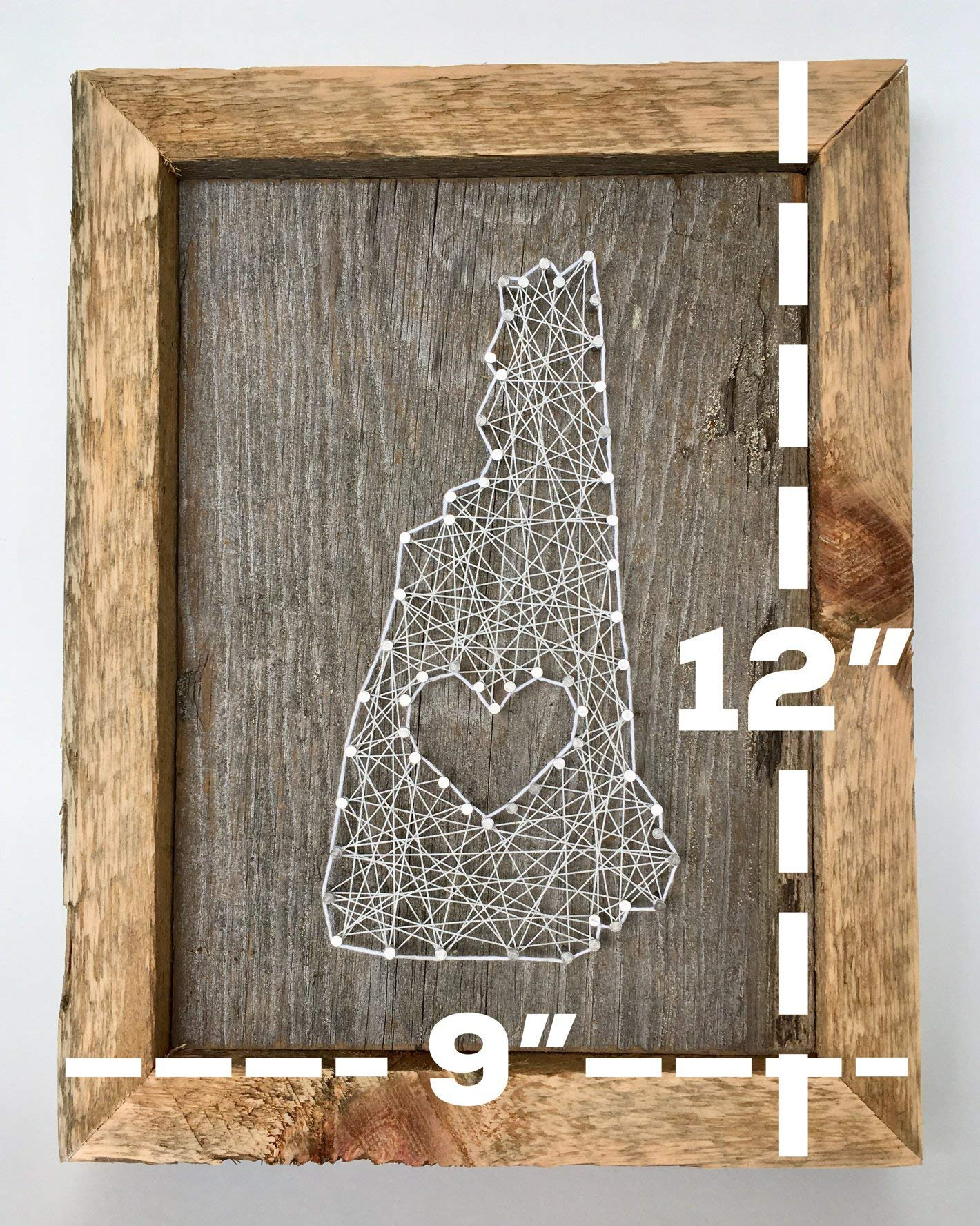 Framed New Hampshire love reclaimed wooden string art sign - A unique and romantic Wedding, Anniversary, House warming, Birthday Valentne's Day and Christmas gift by Nail it Art (Image #2)