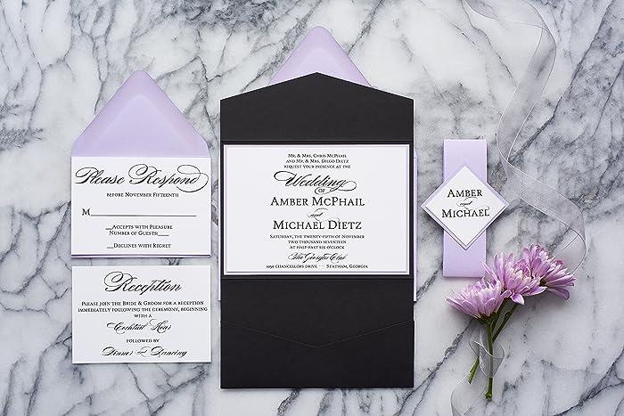 Fancy Wedding Invitations.Amazon Com Personalized Elegant Wedding Invitations With Folder
