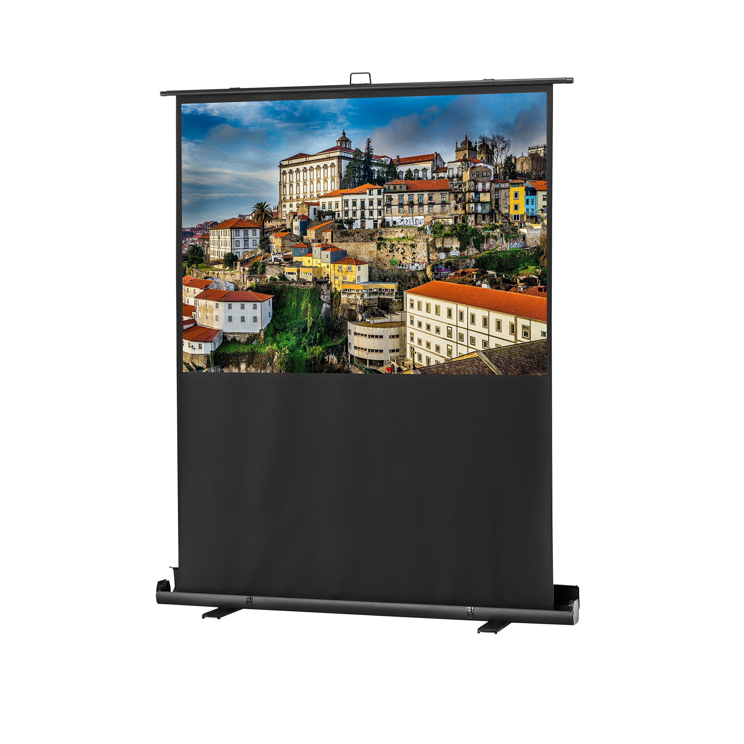 celexon 81'' Pull Up Projector Screen Mobile Professional Plus| 69'' x 39'' Viewing Area | 16:9 format | Portable floor pull up projector screen | Pneumatic Lift | Leightweight aluminium case by celexon