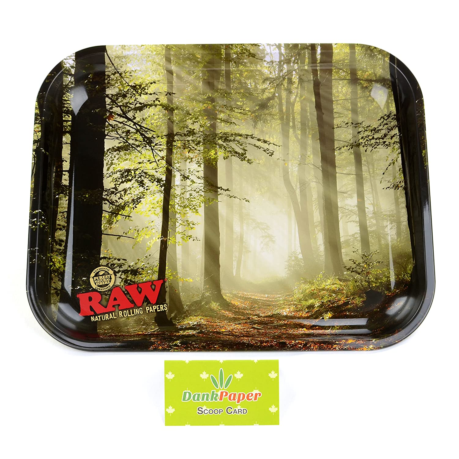 Raw Natural Unrefined Rolling Papers Smokey Rolling Tray Large with Dank Paper Scoop Card (Large) Raw & Dank Paper