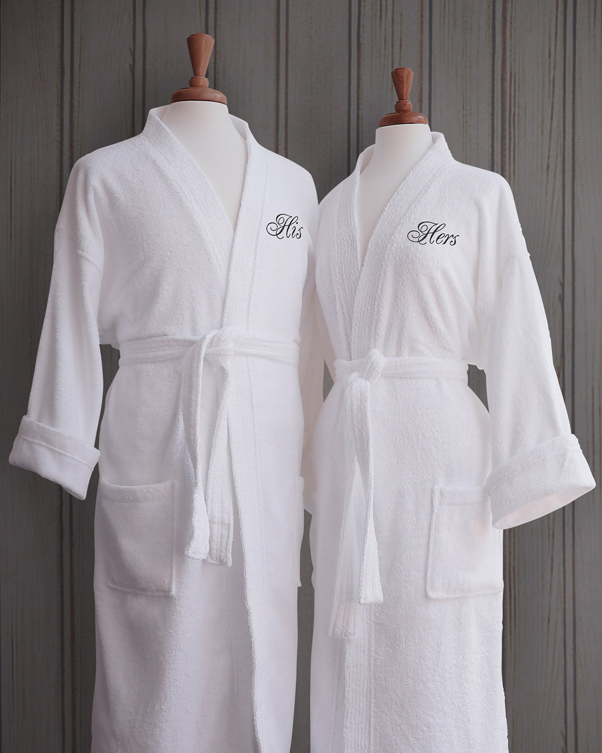 Luxor Linens - Terry Cloth Bathrobes - 100% Egyptian Cotton His & Her Bathrobe Set - Luxurious, Soft, Plush Durable Set of Robes