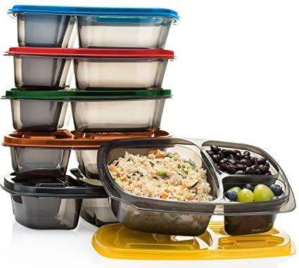 Amazon Com Mealports Divided Lunch Containers 3 Compartment Meal