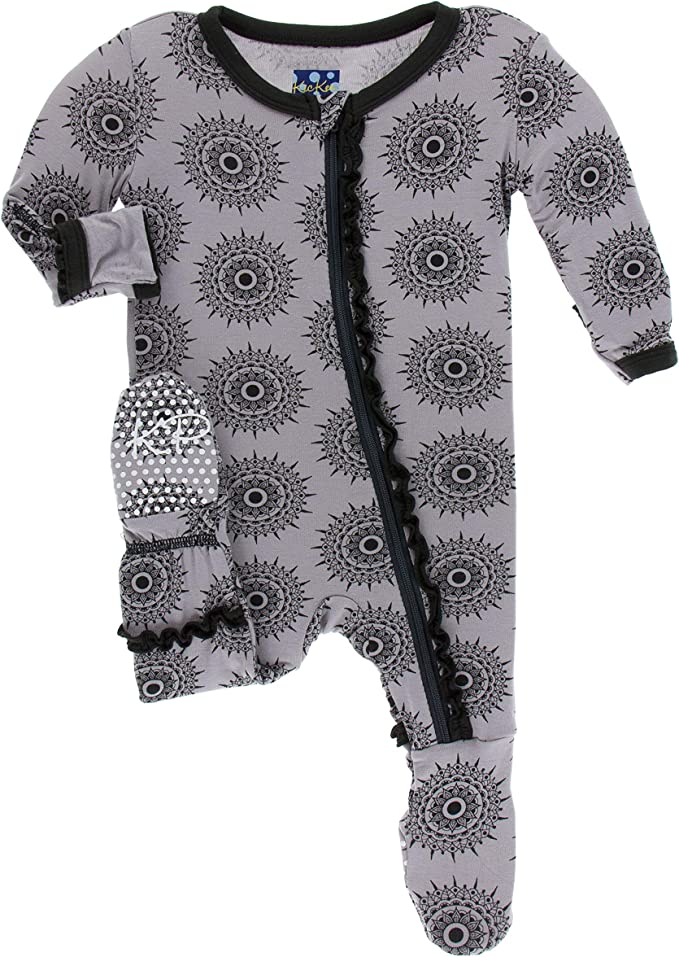 Kickee Pants Print Footie with Zipper 3-6 Months, Feather Mandala India Collection