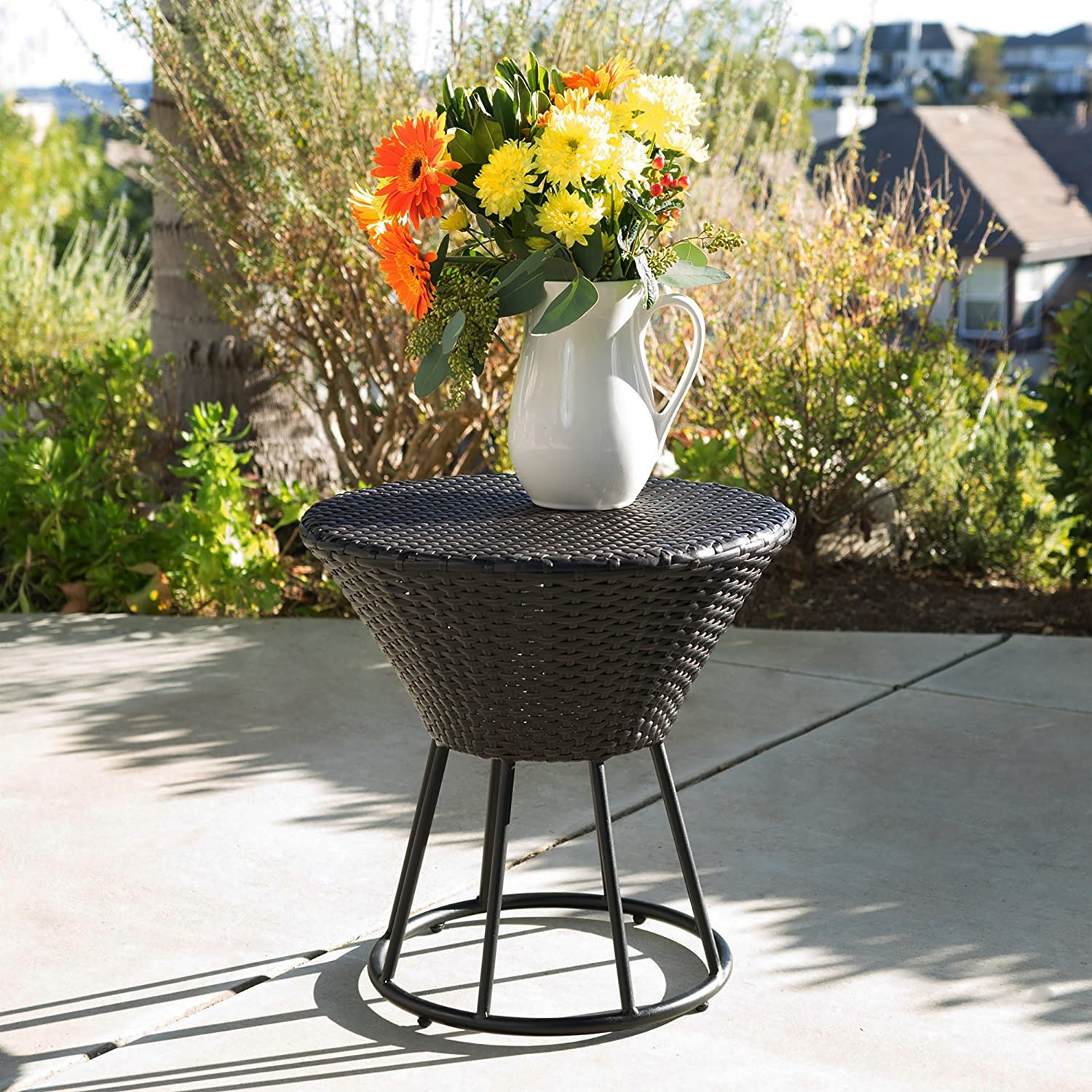 Christopher Knight Home Crete Wicker Outdoor Accent Table, Multibrown