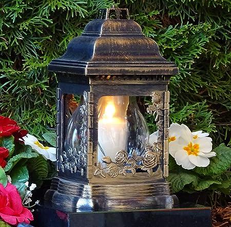 Grablaterne Herz Engel Grablampe Grabschmuck Grablicht Grableuchte Bronze