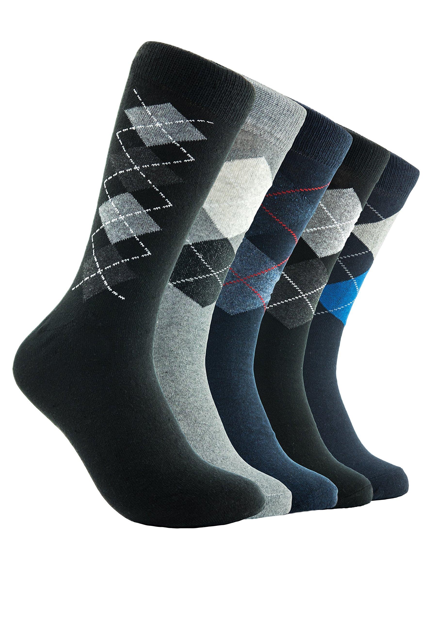 Mens Dress Socks 5 Pack Cotton Argyle Dress Socks Assorted Colors -5 Pair (10-13, Argyle) by Emprella