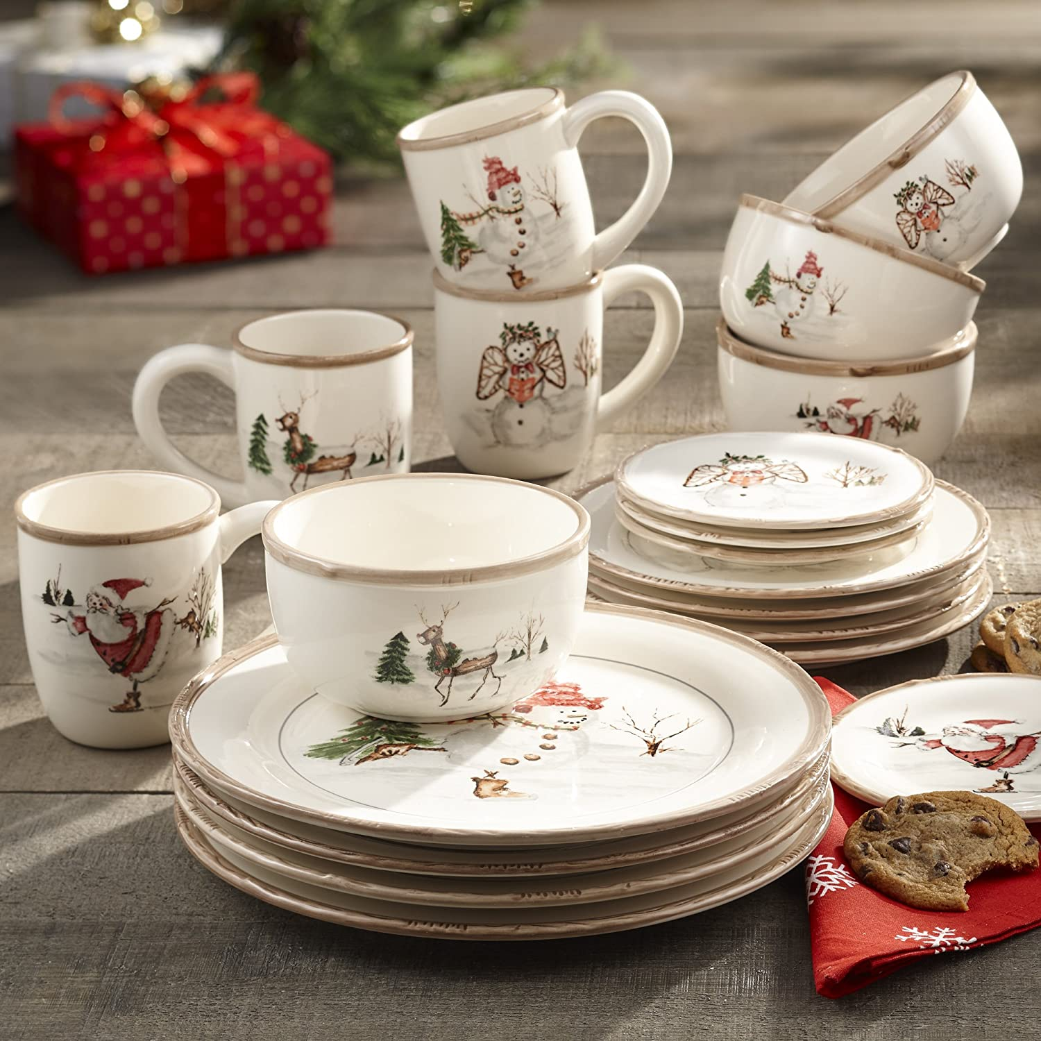 Christmas Twig 20-Piece Cream Dinnerware Set Service for 4 - ChristmasTablescapeDecor.com