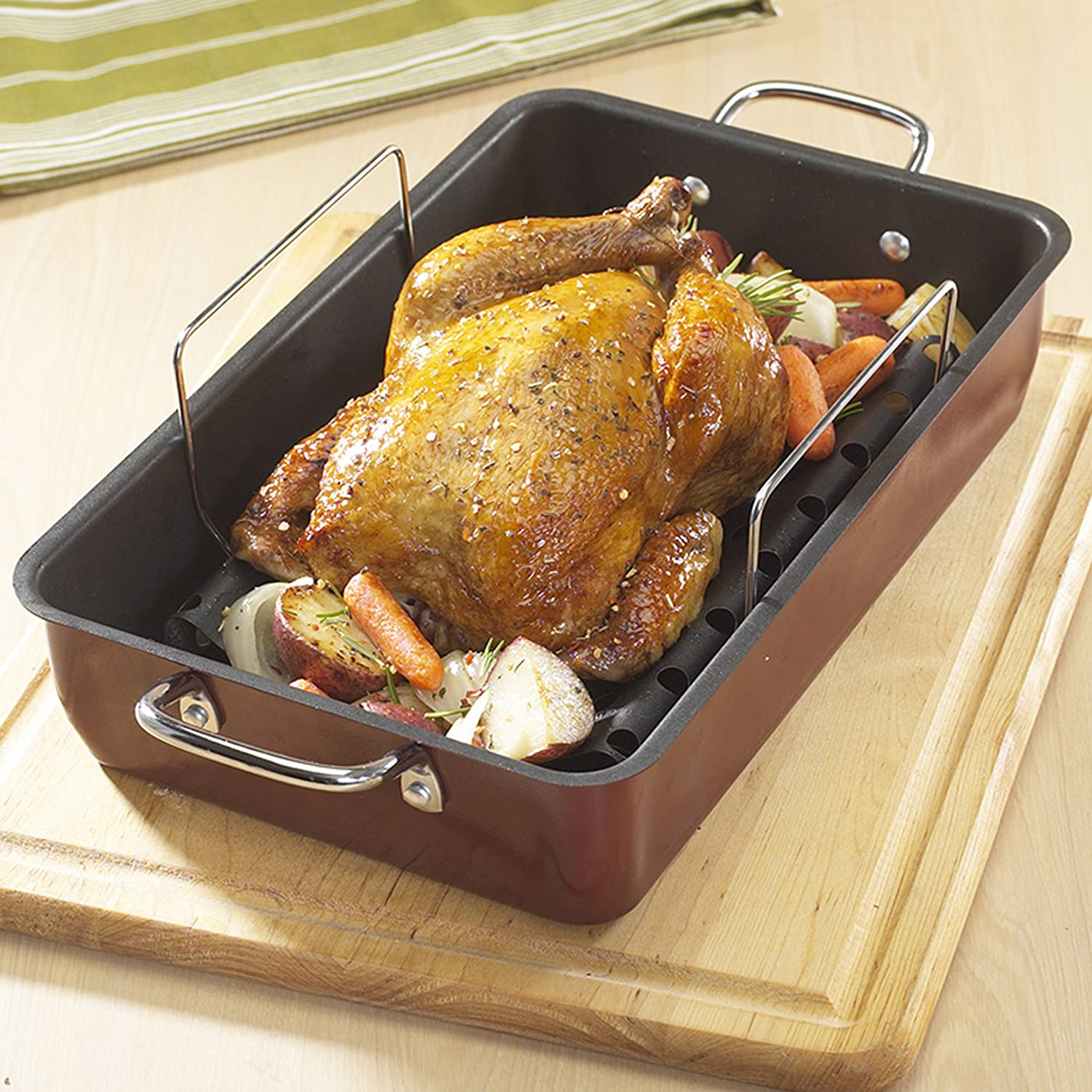 roasting pan see with contemporary this pin awesome steel rack calphalon stainless inch