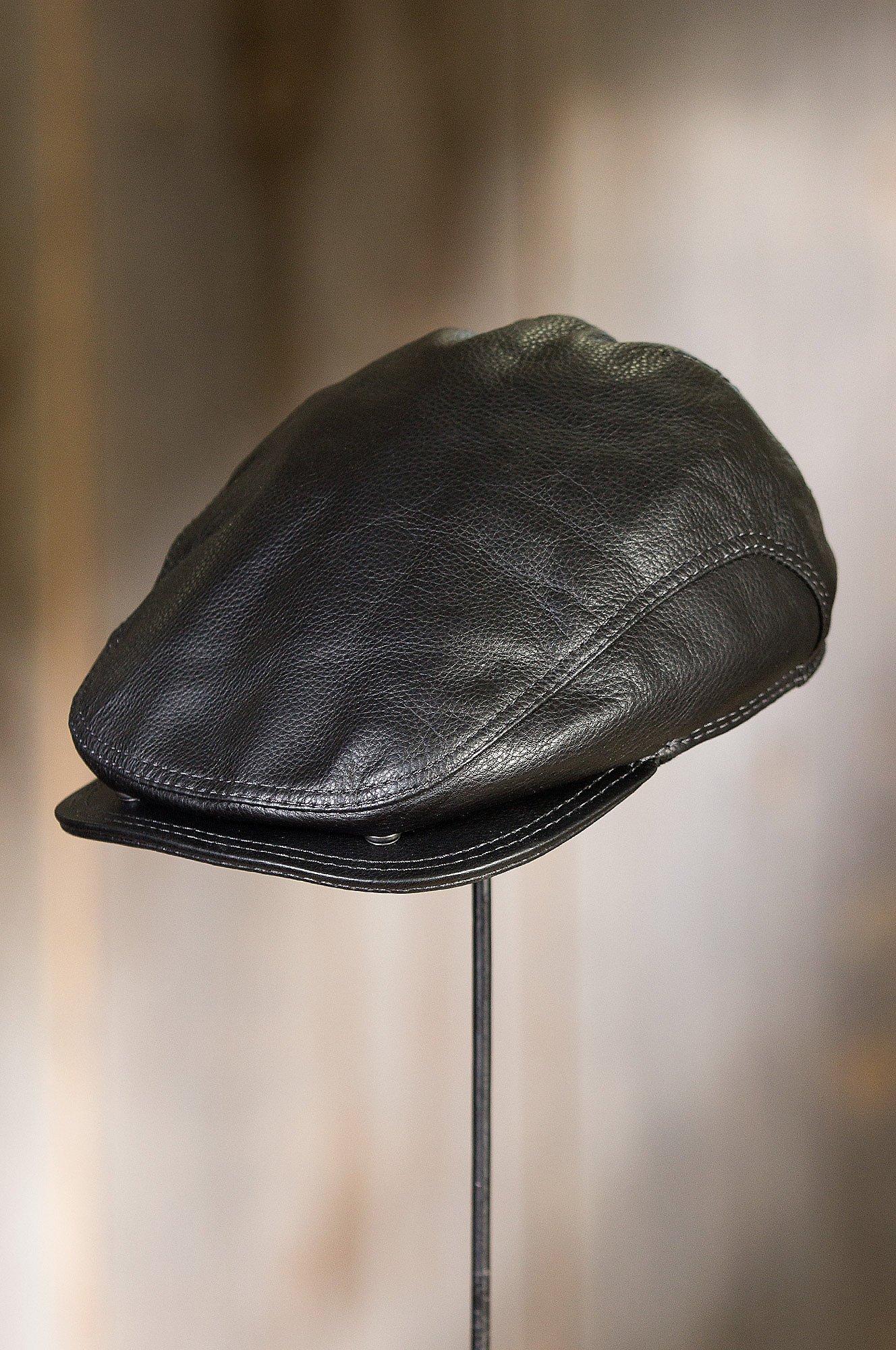 Overland Sheepskin Co. Allen Leather IVY Cap, Black, Size Large (7 1/4-7 3/8) by Overland Sheepskin Co (Image #8)