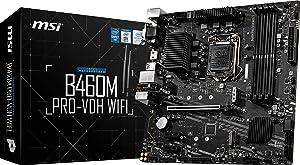 MSI B460M PRO-VDH WiFi ProSeries Motherboard (mATX, 10th Gen Intel Core, LGA 1200 Socket, DDR4, Dual M.2 Slots, USB 3.2 Gen 1, 2.5G LAN, D-SUB/DVI/HDMI, Wi-Fi)