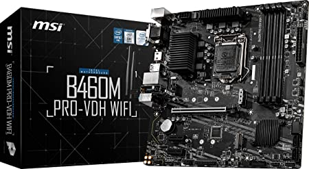 MSI B460M-A PRO 10th Gen Intel Core LGA 1200 Socket DDR4 USB 3.2 Gen 1 Gigabit LAN DVI-D//HDMI Motherboard