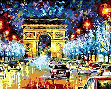 Golden Maple Diy Pre Printed Canvas Oil Painting Gift Adults Kids Paint Number Kits Home Decorations Triumphal Arch 16 20 Inch