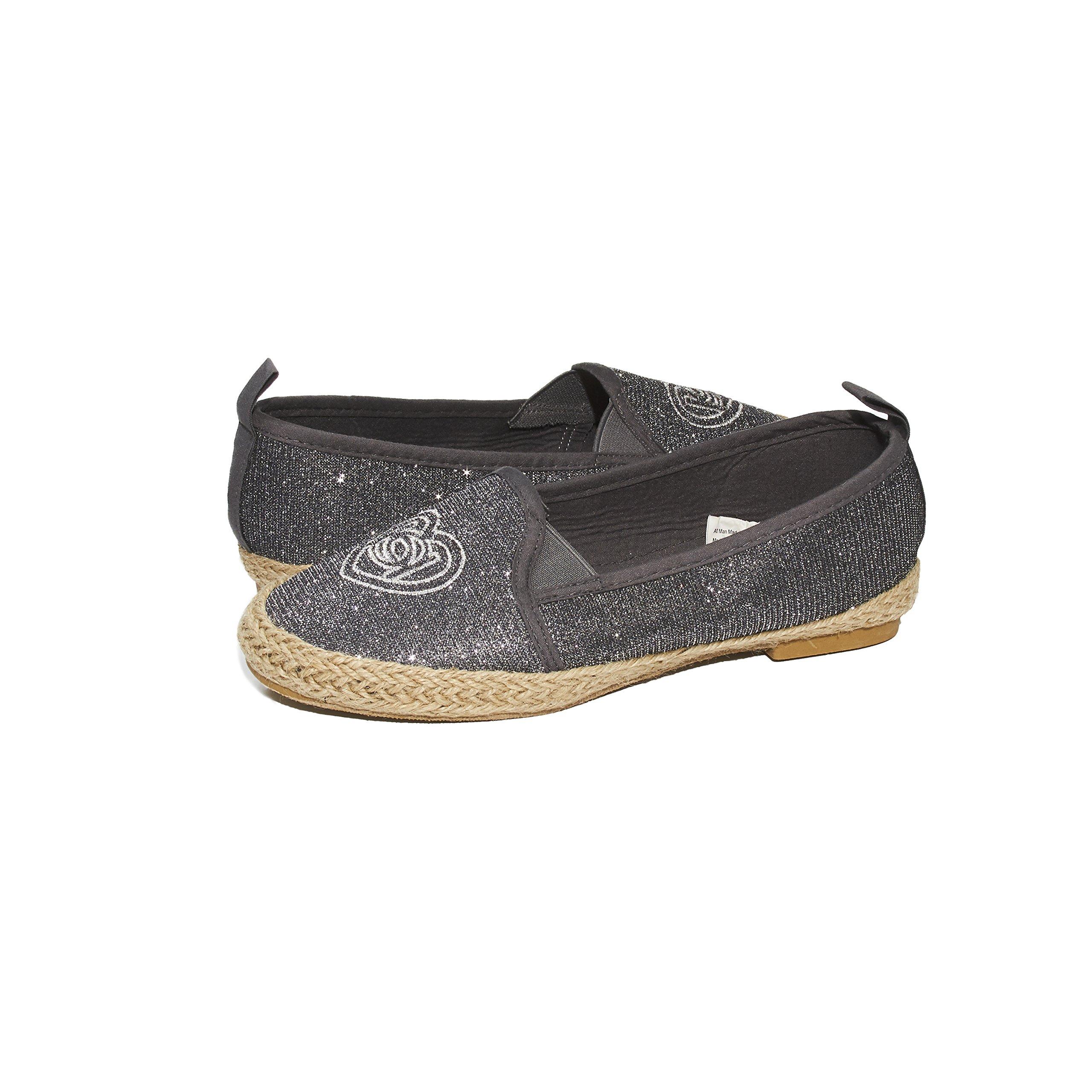 bebe Girls Big Kid Beachy Espadrille Slip-On Loafer Flat Glitter Mesh Shoe Size 2 Pewter