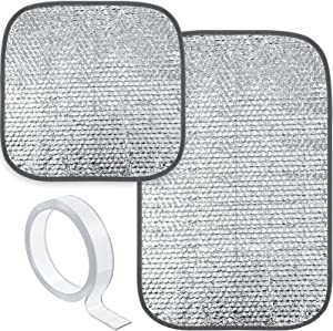 2 Pieces RV Door Window Skylight Shade Sunshield Reflective Window Cover, 25 x 16 Inch, 16 x 16 Inch, RV Insulation Car Windshield Camper RV Skylight Insulator, with Clear Double-sided Tape (Silver)