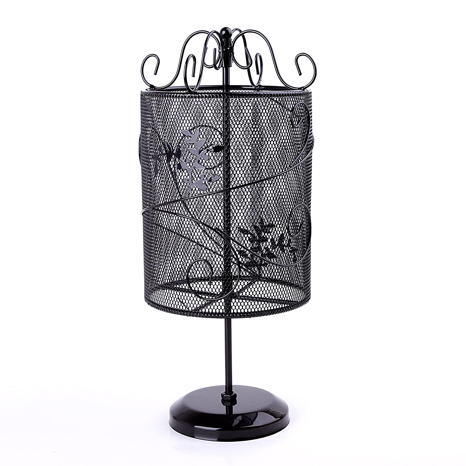 Beautiful Vintage Style Black Metal Wire Mesh Cylinder Floral Design Earring Holder Hanger Jewelry Organizer MyGift AX-AY-ABHI-41080