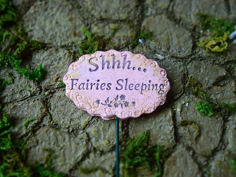 Miniature Fairy Garden Decorations, Accessories, and Supplies- Fairy Garden Sign, Shh.Fairies Sleeping
