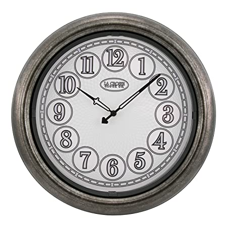 La Crosse Technology 403-3246 18 in in Out Lighted Nickel Wall Clock