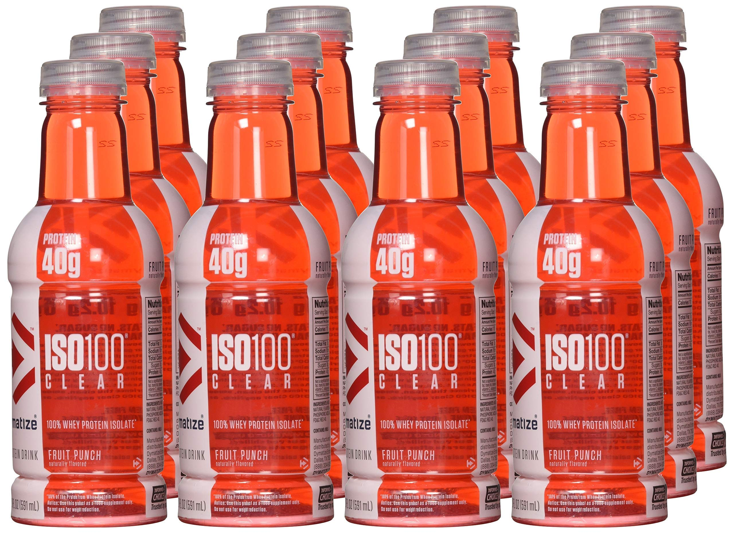 Dymatize ISO-Clear 100% Whey Protein Isolate, Fruit Punch, 20 Oz, 12 Count