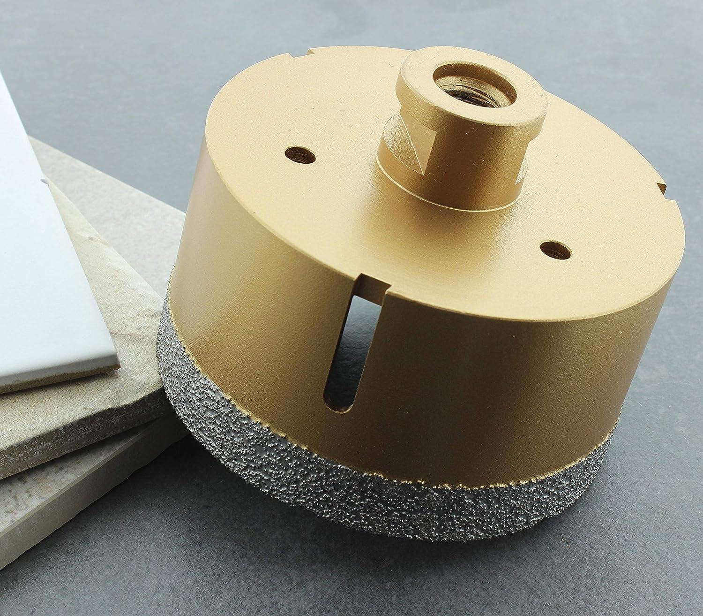 M14-Fliesenbohrkrone Feinsteinzeug Diamant-Bohrkrone passend f/ür Winkelschleifer BTEC 65 mm